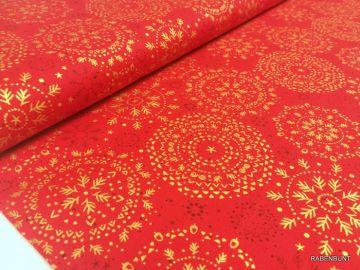 Ein schöner Deko-Stoff Mandala rot/gold. Für Weihnachtliche Dekoartikel bestens geeignet oder Kissenbezüge, Patchwork. 140cm breit, 100% Baumwolle, 40°C waschen. Ökotext 100