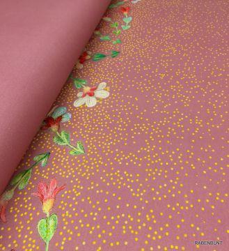 Baumwolljersey Blumengold rosa