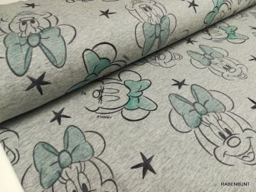 French Terry Minnie Mouse , 48% Baumwolle, 47% Polyester 5% Elastan. 150cm breit.