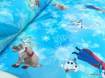 Jersey Eiskönigin, Frozen 1, Elsa, Anna und Olaf. 96% Baumwolle, 4% Elastan. 150cm breit.