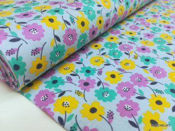 Baumwolle Webware Blumen blau. 100% Baumwolle.