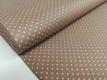Baumwolle Webware kleinePunkte braun. 100% Baumwolle, 150cm breit.