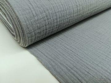 Musselin uni grau. 100% Baumwolle, 130cm breit. Bei 30°C waschbar.