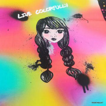 Baumwolljersey Live Colorfully Panel