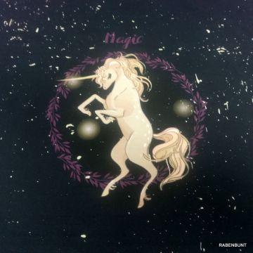 Baumwolljersey Magic Unicorn Panel lila 65cm
