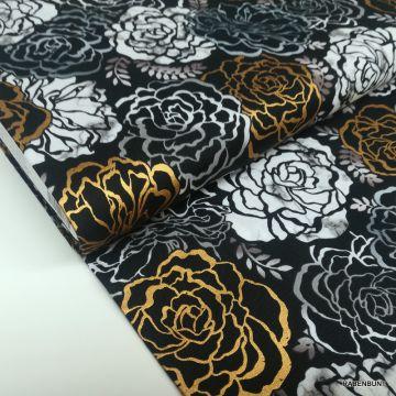 Baumwolle Silverstone onyx gold Blumen, US Designerstoffe,  Quiltstoffe, Robert Kaufman, Kurt Frowein, Baumwollstoff von Robert Kaufman, WELM-19500-181 onyx,
