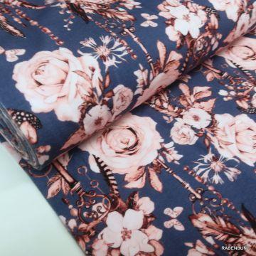 Baumwolljersey Romantic Rose blau, Jersey Rosen, Rosen, Landhausstoffe, USA Stoffe,