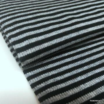 Bündchenstoff geringelt grau schwarz, Ringelbündchen, Bündchen Schlauch, Hilco,