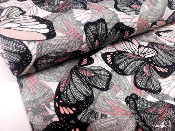 Viskosestrick Anthurie schwarz, Viskose, Strick, Viskose Blumen, Hilco, Rabenbunt,