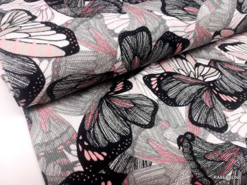 Viskosestrick Coral Butterfly, Viskose, Strick, Viskose Schmetterlinge, Hilco, Rabenbunt,
