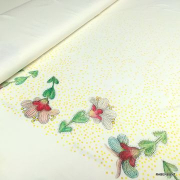 Viskosejersey Blumengold weiß
