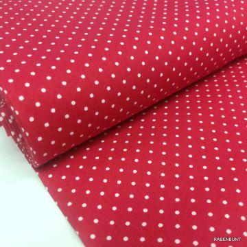 Baumwolle Punkte rot, Baumwolle Punkte, Punkte, Rabenbunt, Stoff gepunktet, Baumwolle gepunktet,