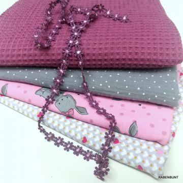 Stoffpaket Hase, Stoffpaket rosa, Stoff Paket,