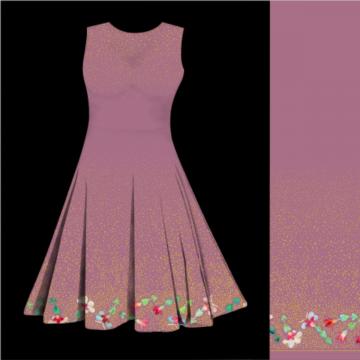 Baumwolljersey Blumengold in rosa. Rapport : 160cm breit x 125 cm lang. 95% Baumwolle, 5% Elastan. Bordüre 58cm