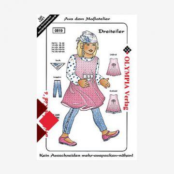 Mädchen Dreiteiler Größe 110-116 Schnittmuster Mädchenkleid  Schnittmuster Mädchen Kleid Größe 110-116