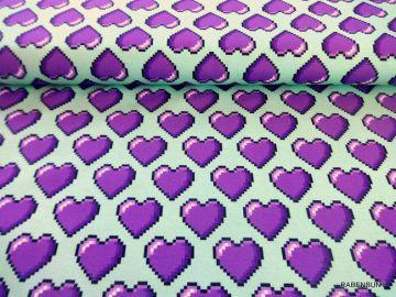 Baumwolljersey Hearts mintgrün