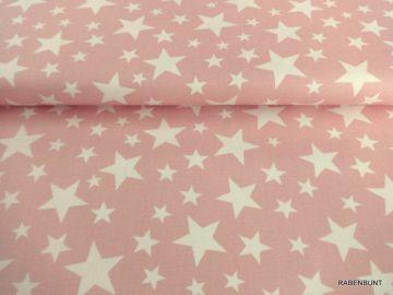 Jeansstoff Sterne in rosa
