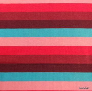 Baumwolljersey, gestreift, 95% Baumwolle, 5% Elastan. 150cm breit. Für Kleider, Röcke, Leggins, Loops bestens geeignet. Sommerliche, fröhliche Farben. Bei 30°C waschbar, nicht für Trockner geeignet.