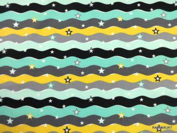Baumwolljersey Reinbow Waves, 95% Baumwolle, 5% Elastan. 150cm breit. Für Kleider, Röcke, Leggins, Loops bestens geeignet. Sommerliche, fröhliche Farben, Streifen mit Sternen. Bei 30°C waschbar, nicht für Trockner geeignet.