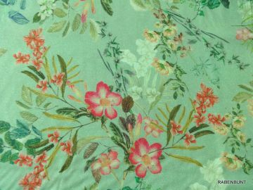Brillo Flor ist ein wunderschöner Viskosestoff für sommerliche Bekleidung. Als Rock, Kleid, Tunika oder ein Schal, ein Hingucker! Sehr weich,leicht zu verarbeiten. Nicht elastisch! 99% Viskose,1% Metallgarn, 135cm breit. Handwäsche.