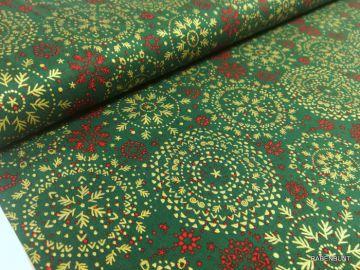 Ein schöner Deko-Stoff Mandala grün/gold. Für Weihnachtliche Dekoartikel bestens geeignet oder Kissenbezüge, Patchwork. 140cm breit, 100% Baumwolle, 40°C waschen. Ökotext 100