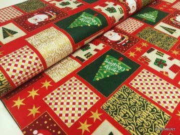 Baumwolle Weihnachten Postkarten rot/grün
