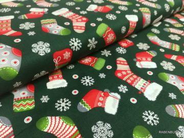 Baumwolle Webware Stiefel rot grün