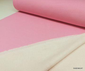Lammfleece Strick rosa, für Overals, Jacken, Mäntel, bestens geeignet. 135cm breit, 100% Baumwolle. Waschen bei 30°C .