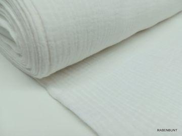 Musselin uni weiß. 100% Baumwolle, 130cm breit. Bei 30°C waschbar.
