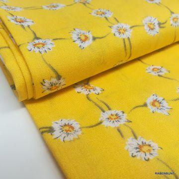Viskose Webware Gänseblümchen gelb