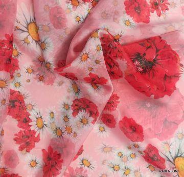 Chiffon Mohn, ein schöner Stoff, sehr weich, leicht und fließend. Ideal für Sommerkleider