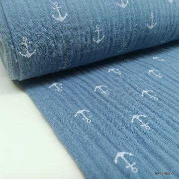 Musselin Anker blau