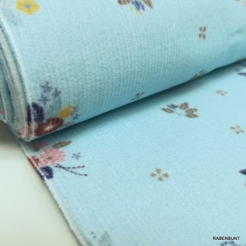 Feincord blau little Bouquet blau