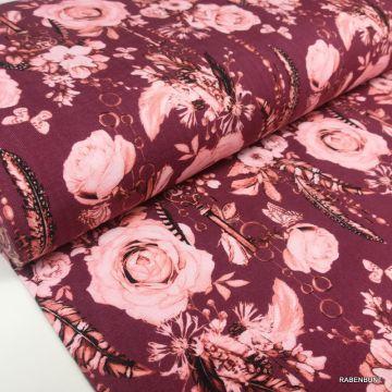 Baumwolljersey Romantik Rose rot, Jersey Rosen, Rosen, romantik Stoff, Landhausstil Stoffe, USA Desingner Stoffe,