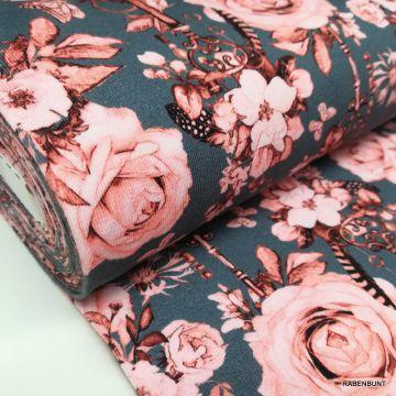 Baumwolljersey Romantic Rose petrol, Frowein, Jersey Rosen, Rosen, USA Designerstoffe,