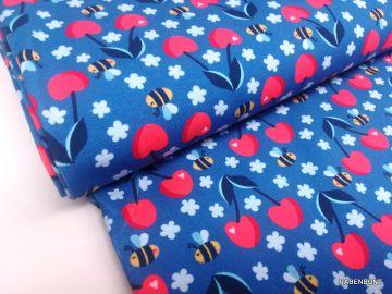 Baumwolljersey Frech Fruits Kirschen blau