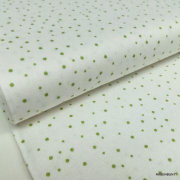Baumwolle Elizabeth weiß grün Punkte, Baumwolle gepunktet, Patchworkstoffe punkte, Quiltstoffe Punkte, Bastelstoffe Punkte, Rabenbunt, US Designerstoffe,