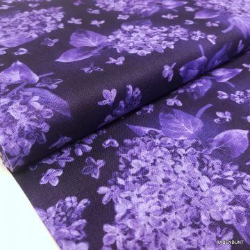 Baumwolle Elizabeth Hortensien lilac, Baumwolle Hortensien, US Designer Stoffe, Patchworkstoff lila, Quiltstoff lila, Bastelstoff lila, Rabenbunt, Blumen, Hortensien,
