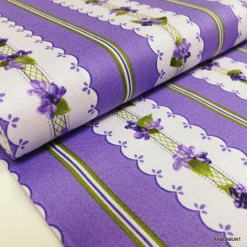 Baumwolle Elizabeth Streifen grün, us Designerstoffe, Robert Kaufman, Baumwolle Streifen, Rabenbunt, Patchworkstoffe floral grün, Quiltstoffe floral grün, Veilchen, Streifen