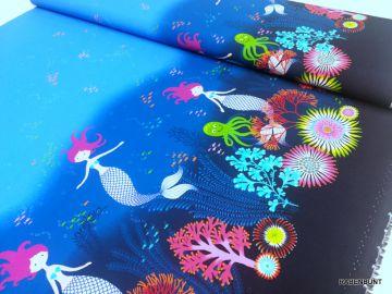 Baumwolle Mermaid Border, Baumwolle Meerjungfrau, Kinderstoffe, Kleiderstoffe, Mädchenstoffe. Blusenstoffe, Meerjungfrau, Hilco, Rabenbunt,