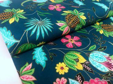Baumwolljesey Paradise Flower, Jersey Blumen, Jersey Flower, Hilco, Rabenbunt, Kleider Stoffe,