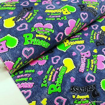 Sommerjersey Jeans Letters neon