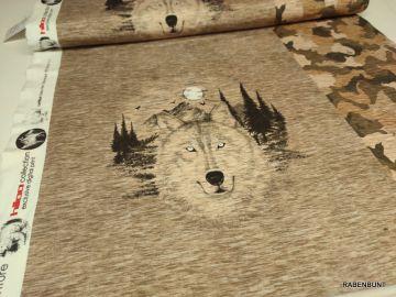 Sweat Panel Wild Wolf, Jungs Panele, Männer Panele, Jungs Stoffe, Männer stoffe, Panel, Stoff Panele,  Wolf Panel, Hilco, Hilco Stoffe, Rabenbunt,