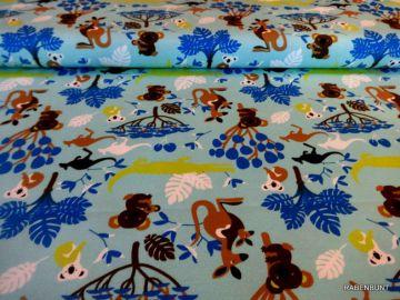 Sommerliche Jersey mit tollem Motiv. 150cm breit, 95% Baumwolle, 5% Elastan. Feinwäsche bei 30°C. Ökotex 100
