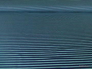Baumwolljersey Campan streifen marine/türkis. 92% Baumwolle, 8% Elastan, 160cm breit. Ökotext 100. Bestens für Bekleidung geeignet als Kombistoff oder solo.