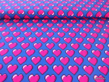 Baumwolljersey Hearts blau