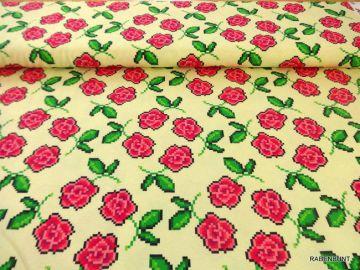 Jersey Roses. Ideal für Sommermode. Sommerhoodis, Blusen, Tops, Röcke, Kleider. 150cm breit, 90% Baumwolle, 10% Elastan, 30°C Feinwäsche.