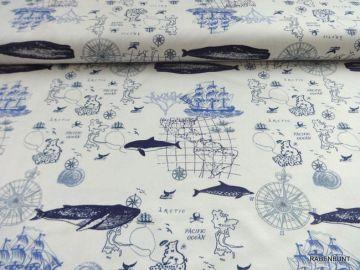 Baumwolljersey Nautical , 90% Baumwolle, 10% Elastan. 150cm breit. Für T-Shirts, Hoody's , Hose und Loops bestens geeignet. Bei 30°C waschbar. Ökotex 100