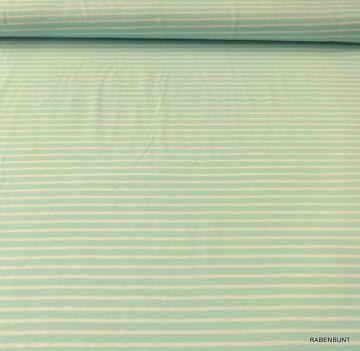 Baumwolljersey Campan, Streifen in hell türkis , 90% Baumwolle, 10% Elastan. 150cm breit. Für Kleider, Röcke, Leggins, Loops bestens geeignet. Bei 40°C waschbar. Ökotex 100. Verkaufseinheit 0,50m Bei größeren Mengen werden Artikel am Stück geliefert.