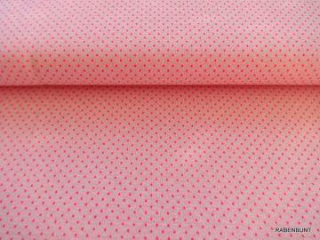 Jacquard Ebba Dots Punkte pink.Sehr dehnbarer, leichter dennoch fester Stoff. Waschen bei 30 Grad. 80% Viskose, 10% Polyamid, 8% Polyester, 2% Elastan. 130cm breit Ökotext 100